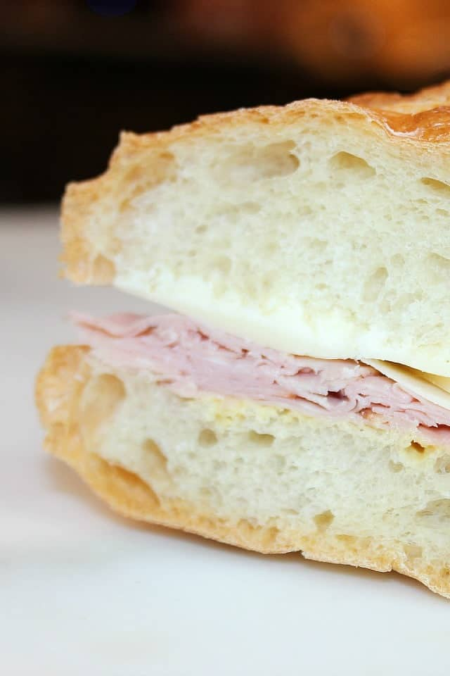 french ham & cheese baguette