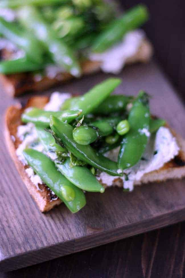 Goat Cheese Crostini with Snap Peas a
