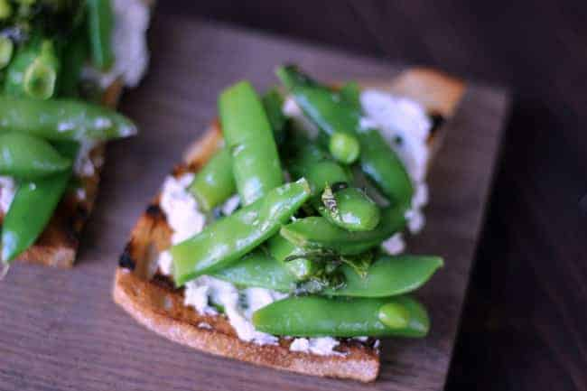 Goat Cheese Crostini with Snap Peas c