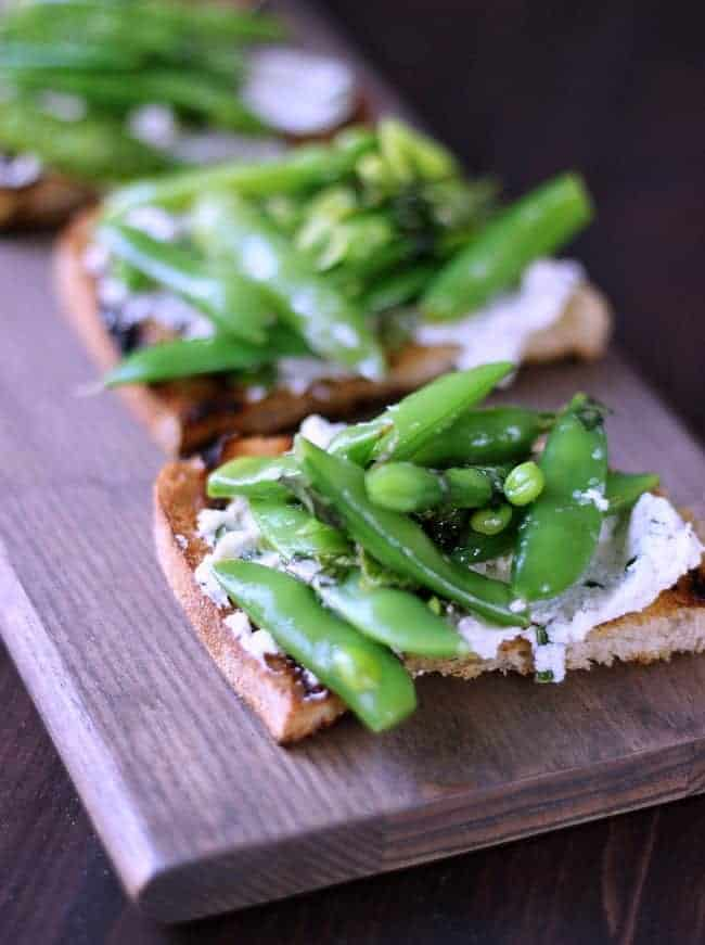 Goat Cheese Crostini with Snap Peas