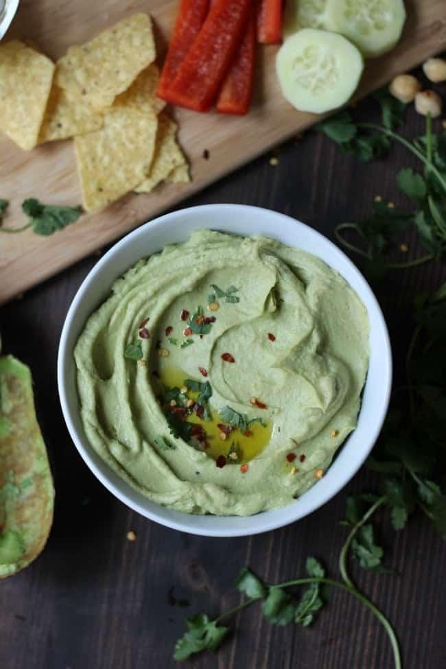 Creamy Avocado Hummus with Cilantro