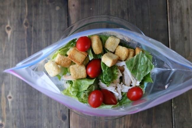 Homemade Chicken Caesar Salad in a bag