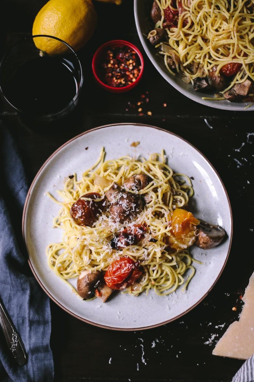 Roasted Tomatoes with Lemon Pasta