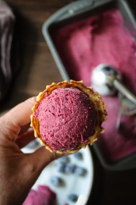 We all scream for ice cream this time of year.  And nothing tastes better than homemade ice cream recipes.  This Blackberry-Blueberry Ice Cream is light, fresh and delicious.