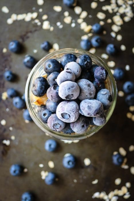 Get tons of nutrition in this Blueberry Overnight Oats breakfast for two.