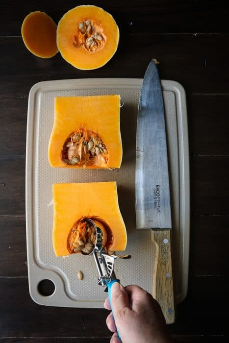 steps to cut butternut squash