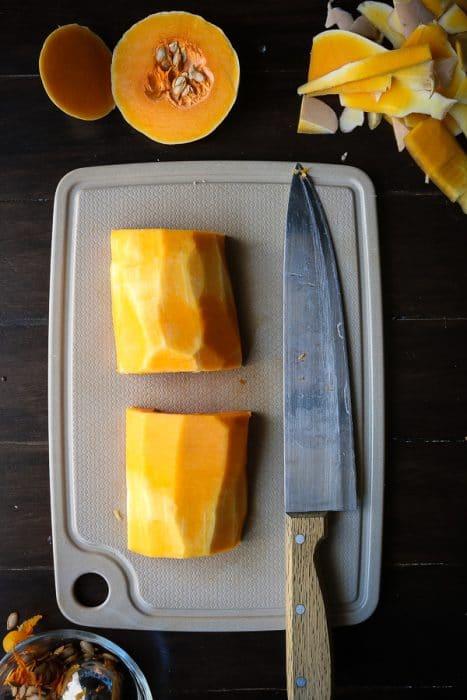 Cutting up Butternut Squash