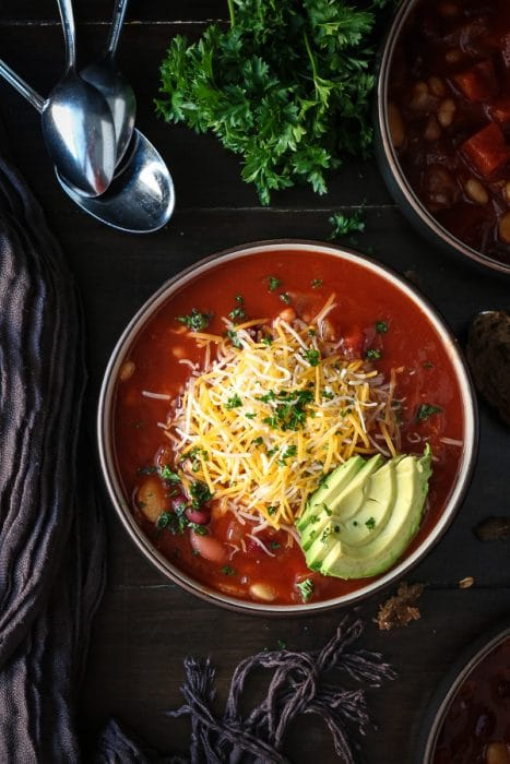 Bean chili recipe made in the slow cooker
