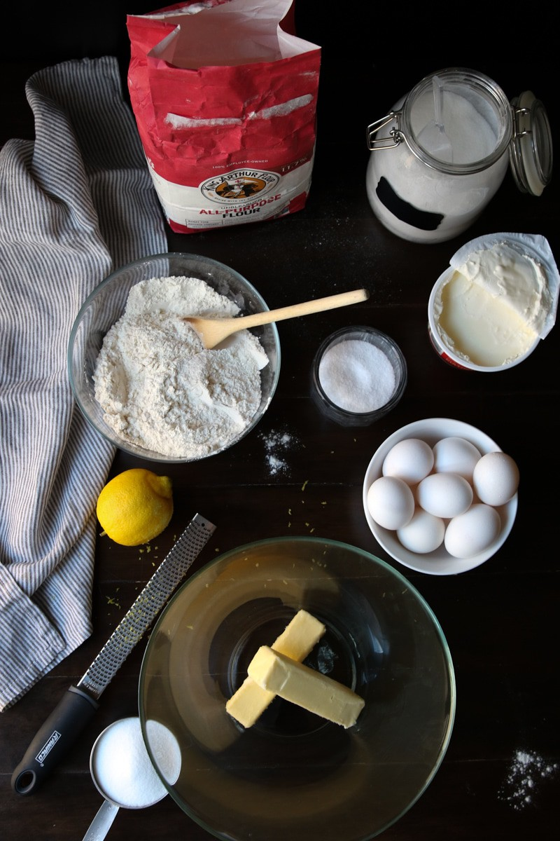 Ingredients for Lemon Pound Cake