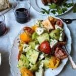 Tomato & Mozzarella Salad on a serving plate