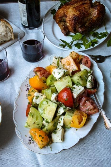 A beautiful summer salad with tomatoes & mozzarella cheese.