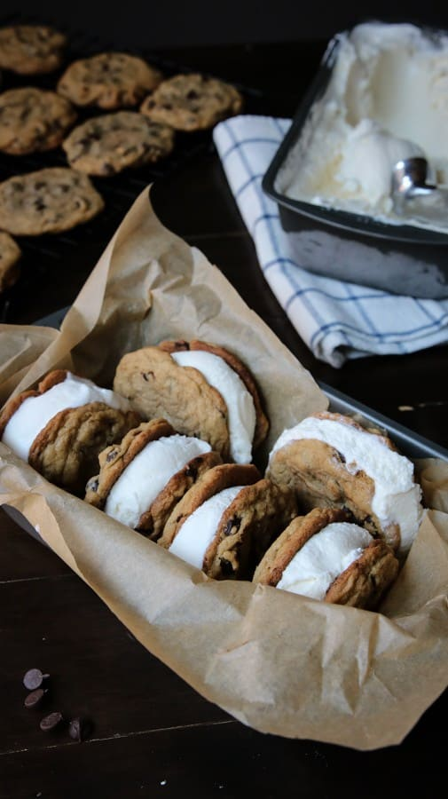 Ice cream, cookies and sandwiches