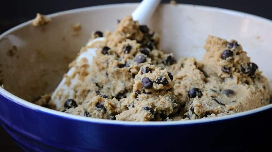 bowl of coffee chocolate chip cookie dough