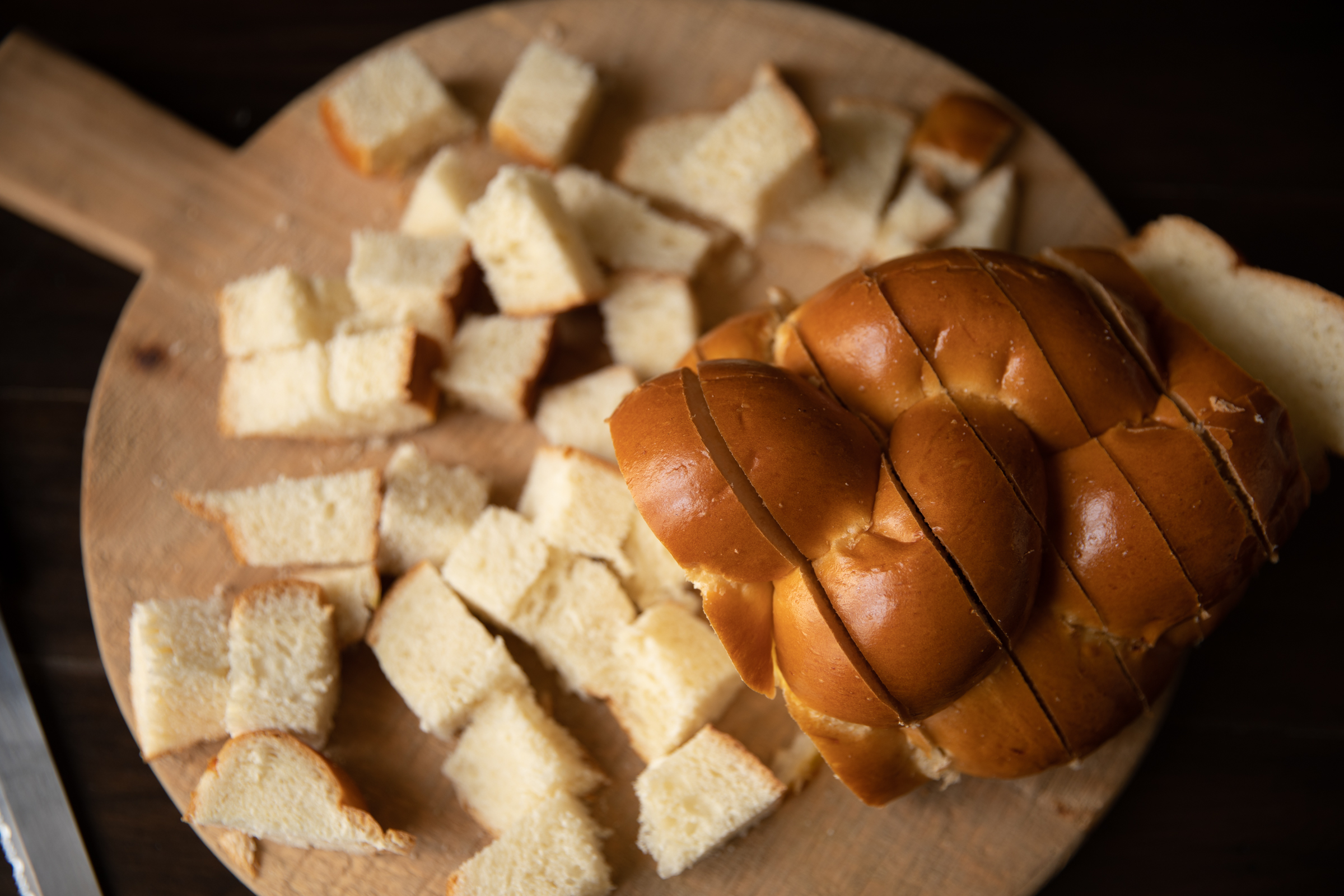 Cut up Challah bread