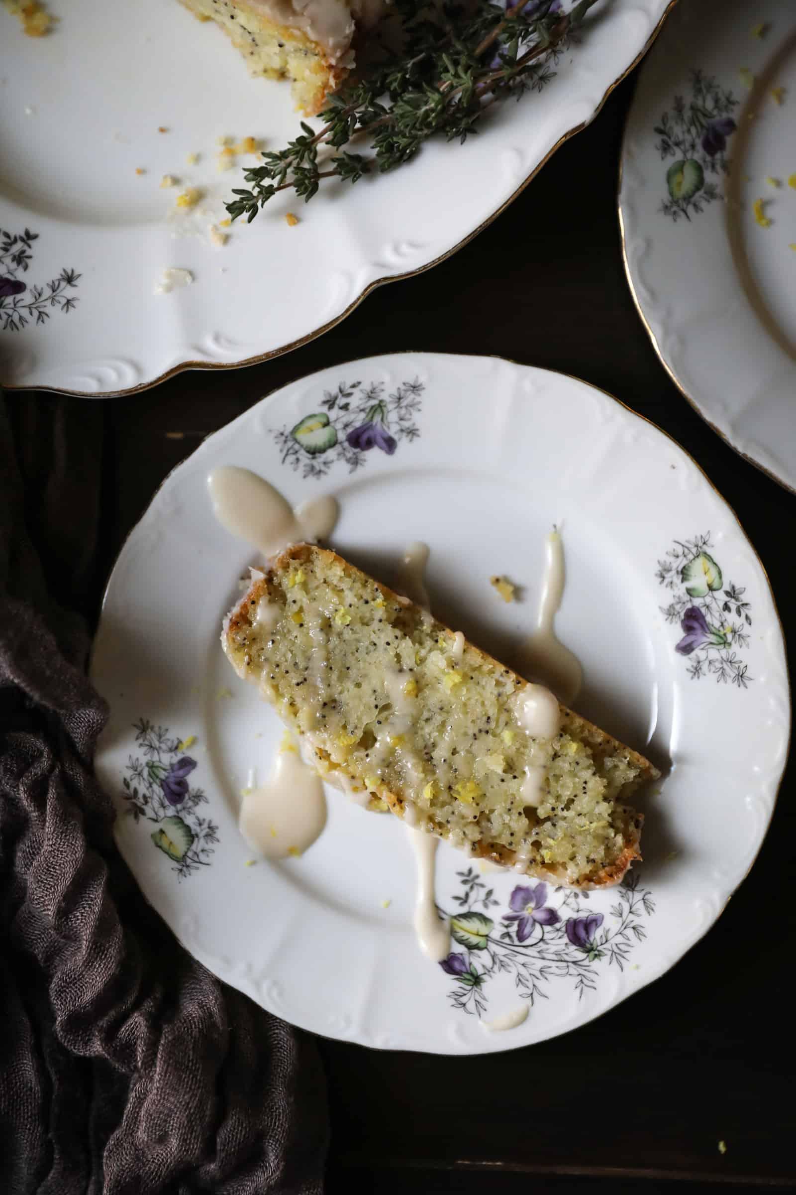 one slice of lemon loaf on plate