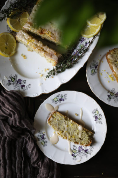 Two slices of lemon loaf on a plate